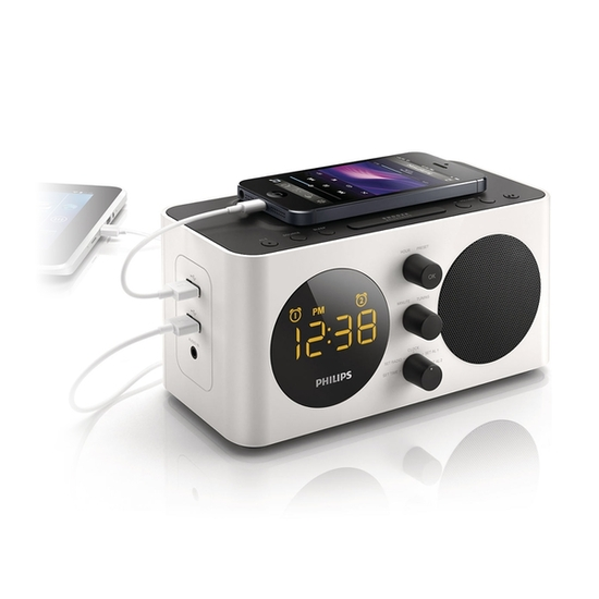 buy philips fm clock radio alarm dual usb smart. Black Bedroom Furniture Sets. Home Design Ideas