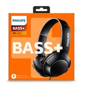 Philips BASS+ On Ear Wired Headphones with Mic - Black